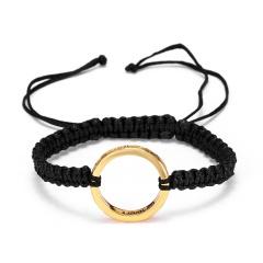 RINHOO Fashion Braided Bracelet Lettering Round Circle Charm Wrap Cord Metal Bangles Vintage Rope Jewelry Bracelets For Men Women My Heart 1