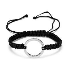 RINHOO Fashion Braided Bracelet Lettering Round Circle Charm Wrap Cord Metal Bangles Vintage Rope Jewelry Bracelets For Men Women My Heart 2