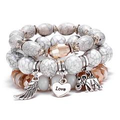 RINHOO 3pcs/set Fashion High Quality Boho Bracelets & Bangles Beaded Bracelet With Colorful Gem Long Wrap Bracelet for Women White