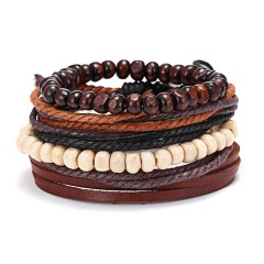 RINHOO Vintage Leather Bracelets for Men Bohemia Multilayer Beads Wrap Punk Rope Jewelry Valentine's Day Gift Bracelets Bangles Bracelet2