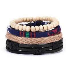 RINHOO Vintage Leather Bracelets for Men Bohemia Multilayer Beads Wrap Punk Rope Jewelry Valentine's Day Gift Bracelets Bangles Bracelet4