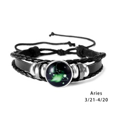 RINHOO 12 Constellations Leather Bracelets For Women Men Zodiac Sign Snap Charms Stones Beads Bangle Jewelry Bracelets & Bangle Bracelet 3