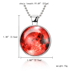 Fashion Glow In The Dark Pendant Necklace Moon Gem Women Charm Jewelry Party Gift Red