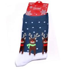 Christmas Lovely Socks Women Men Gift Santa Claus Elk Snowflake Warm Winter Xmas Navy Blue
