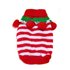 Christmas Small Pet Dog Sweater Winter Warm Clothes Pompom Stripe Xmas Costume Red+White