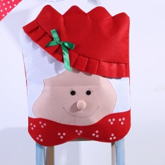 Festival Christmas Santa Claus Hat Chair Back Cover Set Dinner Table Xmas Decor Red