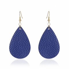 1 Pair Drop Shape Artificial Leather Earrings Blue