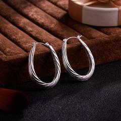 1Pair Classics Geometric Rhombus Round Hoop Earrings Hollow U Earrings U