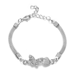 RINHOO 925 Silver Jewelry Bracelets For Women Fashion Bangle Wedding Banquet Butterfly Owl Key Flower Dragonfly Cross Bracelets Bracelet 3