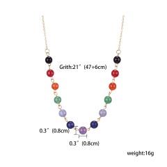 7 Chakra Beads Pendant Necklace Women Yoga Reiki Healing Balancing Jewelry Gold