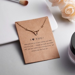 Fashion Geometric Polygon Paper Card Necklace Short Chain Women Jewelry Party I love you