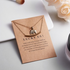 Women Elephant Necklace Love Heart Gold Clavicle Chains Choker Jewelry Gift Elephant