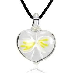 Fashion Lampwork Murano Glass Heart Flower Necklace Pendant Starfish Jewelry Hot Yellow