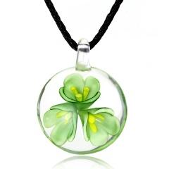 Handmade Lampwork Murano Glass Round Flower Pendant Necklace Green