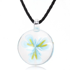 Handmade Lampwork Murano Glass Round Flower Pendant Necklace Blue