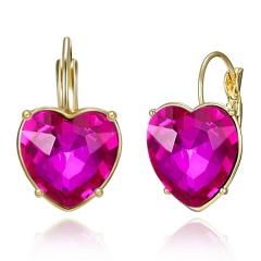 Elegant Women Crystal Round Circle Drop Dangle Earrings Wedding Bride Jewelry Pink