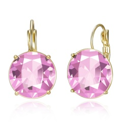 Fashion Women Round Geometric Crystal Earrings Jewelry pink