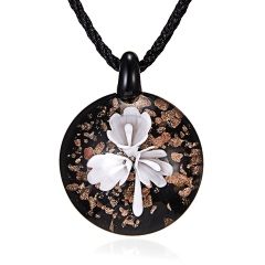 Round Gold Foil Heart Flower Lampwork Glass Pendant Necklace Women Jewelry White