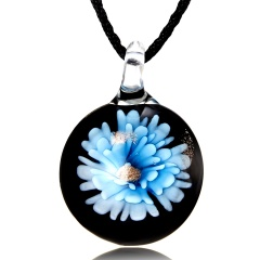 Gold Foil Heart Flower Lampwork Glass Pendant Necklace Women Fashion Gift Blue