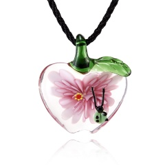 Fashion Women Handmade Lampwork Murano Glass Pendant Necklace Pink