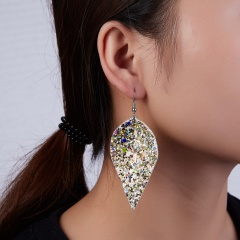 Fashion Multicolor Bohemian PU Leather Earrings Leaf Dangle Earrings Femme Party Jewelry gold