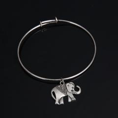 Silver Infinite Love Bangle Fashion Simple Cheap Handmade Bracelet Jewelry Elephant
