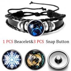 Twelve Constellation Time Gem Button Bracelet Accessories Pisces