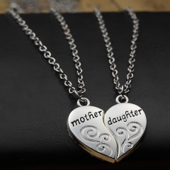 Mother Daughter Love Stitching Necklace Gift Silver