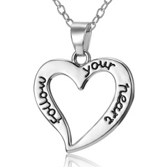 Hollow Heart Lettering Pendant Necklace Heart