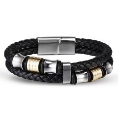 RINHOO Punk Men Braided Leather Bracelet Male Handmade Bracelet Stainless Steel Magnetic Clasp Male Wristband Gift Jewelry Bracelet 2
