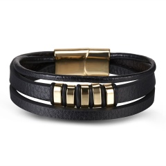 RINHOO Genuine Leather Stainless Steel Bracelet Charms Punk Jewelry Bracelet For Men Holiday Male Exquisite Jewelry Gift Triple layer 1