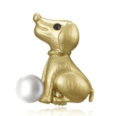 Trendy 12 Zodiac Dragon Pig Dog Brooch Pins Gold Simulated Pearl Brooch Chinese Zodiac Animal Fashion Garment Jewelry Accessory Dog