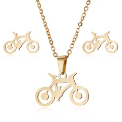 Fashion Stainless Steel Gold Earrings Necklace Jewelry Set Mother's Day Gift Hot Bike