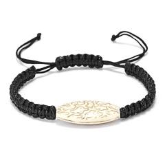Rinhoo 1PC Handmade Vintage Geometric Pendant Adjustable Weaving Rope Chain Charm Bracelet For Women Men Fashion Jewelry Gift White