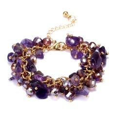 RINHOO Charm Bracelets & Bangles With Natural Stones Gold Color Bracelet Femme for Women Jewelry Personalized Purple Bracelet Purple
