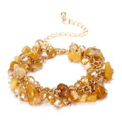 RINHOO Charm Bracelets & Bangles With Natural Stones Gold Color Bracelet Femme for Women Jewelry Personalized Purple Bracelet Yellow