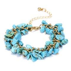 RINHOO Charm Bracelets & Bangles With Natural Stones Gold Color Bracelet Femme for Women Jewelry Personalized Purple Bracelet Blue