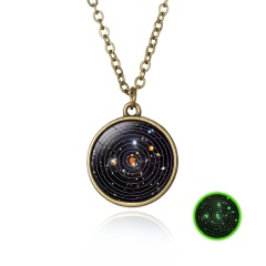 Luminous Galaxy Nebula Pyramid Glow in the Dark Glass Pendant Necklace Retro Hot Solar System