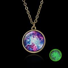 Luminous Galaxy Nebula Pyramid Glow in the Dark Glass Pendant Necklace Retro Hot Colorful Nebula