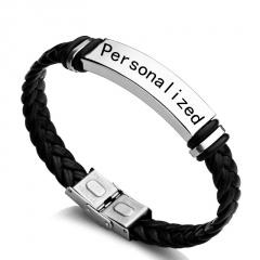 21.5cm Braid Leather Engrave Name ID Bracelets 316L Stainless Steel Customized Bracelets For Women Men ID Bracelet Jewelry charm 3.5cm