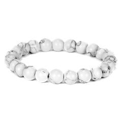 Rinhoo Trendy Natural Stone Love Purple Bead Bracelet Vintage Charm Round Chain Beads Bracelets Jewelry For Women Friend Gift White