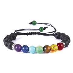 2019 Newst 7 Chakra Bracelet Men Black Lava Healing Balance Beads Reiki Buddha Prayer Natural Stone Yoga Bracelet For Women chakra bracelet  3