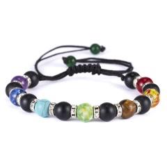 2019 Newst 7 Chakra Bracelet Men Black Lava Healing Balance Beads Reiki Buddha Prayer Natural Stone Yoga Bracelet For Women chakra bracelet  5
