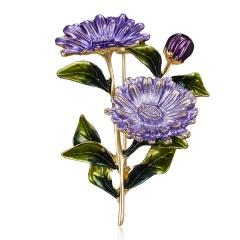 Rinhoo Daisy Flower Brooch Pink Purple Yellow Enamel Flower Brooch for Women Men Wedding Party Chrysanthemum Bouquet DIY Jewelry Purple