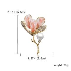 Rinhoo Elegant Flowers Plant Brooch Jewelry Pink Hibiscus Flower Pearl Crystal Brooch Corsage Women Fashion Jewelry Accessories Pink