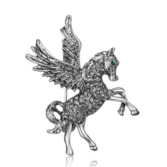 Rinhoo Lovely Horse Brooches with Rhinestone Fashion Gold Silver Color Animal Crystal Brooches Pins for Women Men Gifts Silver