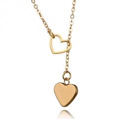 simple hollow heart peach heart pendant necklace Heart