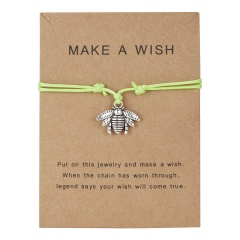 Best Friends Bracelets Girls Engagement Wedding Bridesmaid Silver Make a Wish Bird Owl Leaf Love Heart Lucky Clover Bracelets green bee