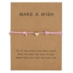Simple Charm Bracelet black red colour Minimalist Adjustable Rope String Lucky Bracelet heart star for Women Men Jewelry Lover Pink