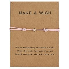 Star Charm Bracelet Adjustable Rope String Lucky Bracelet Star For Women Men Lovers Bead Vintage Jewelry Pink